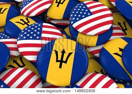 Usa And Barbados Badges Background - Pile Of American And Barbadian Flag Buttons 3D Illustration