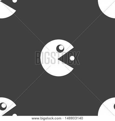 Pac Man Icon Sign. Seamless Pattern On A Gray Background. Vector