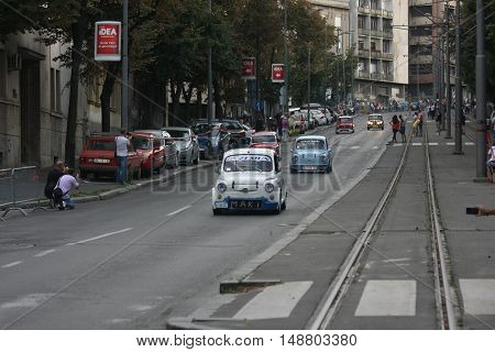BELGRADE,SERBIA - SEPTEMBER 10, 2016:Old Fiats 500 and 750 at the commercial race of old cars in memory of formula 1 race held on the same place in 1939 two days after the beginning of Second World War when the famous Italian driver Tazio Nuvolari won