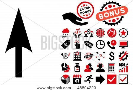 Arrow Axis Y pictograph with bonus images. Vector illustration style is flat iconic bicolor symbols, intensive red and black colors, white background.