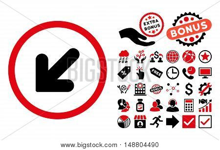 Arrow Down Left icon with bonus icon set. Vector illustration style is flat iconic bicolor symbols, intensive red and black colors, white background.