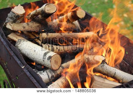 Wood burning in the grill, open fire, cooking outdoors