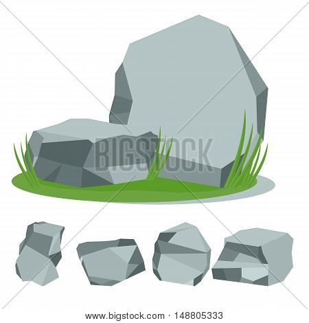 Stones on the grass. Set of rock stones. Flat cartoon stone illustration. Objects isolated on a white background.