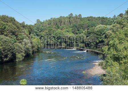 River seen from the top of a suspension bridge in northern Galicia Spai