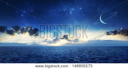 2d illustration and photo manipulation of an alien planet or moon with an ocean of liquid water and a sky with stars and planets.