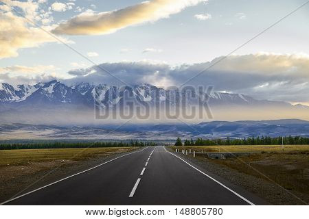 Straight Empty Highway To The Mountains. Altay Region, Russia.