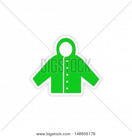 icon sticker realistic design on paper raincoat