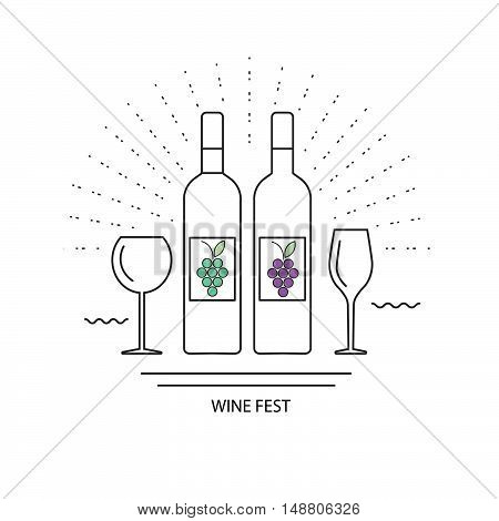wine festival bottles and glasses for white and red wine. emblem symbol. vector illustration.