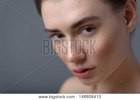 skin care concept, close up of a pretty woman with copy space