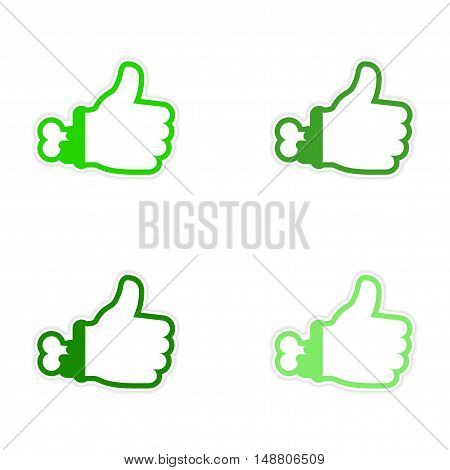 assembly sticker Zombie bloody hand on white background