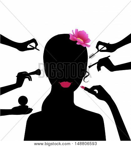 Woman in a beauty salon. Set of 4 women. Woman spa with cosmetic face mask. Smiling girl portrait. Clean skin, cosmetics concept, fresh healthy face. Beautiful model. Graphic design element for spa or beauty salon poster