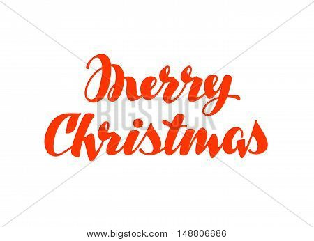 Merry Christmas hand lettering. Vector calligraphy element