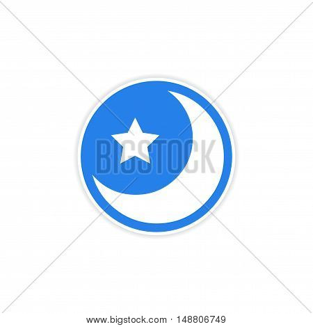 sticker logo moon and star on a white background