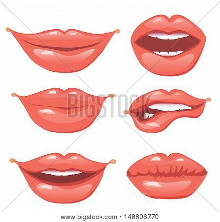 Set of red lips, vector illustration. Glossy lips set.
