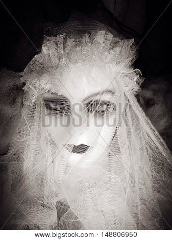 black and white ghost veiled bride manikin doll