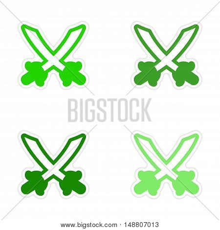 assembly sticker Bright crossed swords on a white background