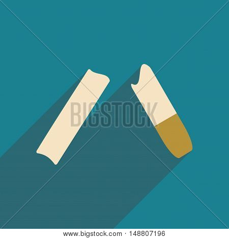 Flat with shadow icon and mobile application cigarettes