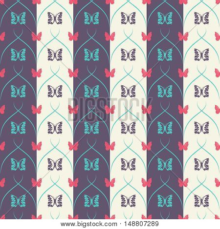 Striped seamless pattern with butterflies and vertical thick and thin oblique lines