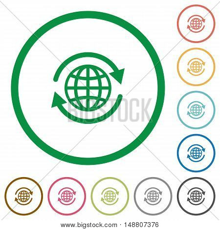 Set of international color round outlined flat icons on white background