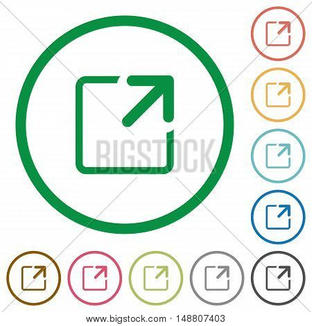 Set of maximize window color round outlined flat icons on white background