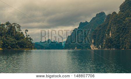 Cheo Lan Lake in Thailand. Rainy Clouds. Low Season.