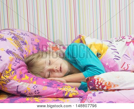Little Beautiful Girl In Bed.