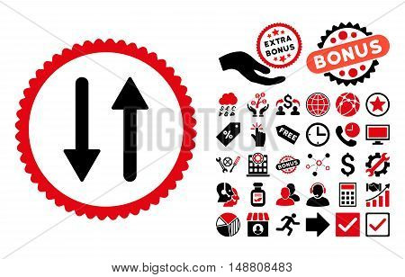 Arrows Exchange Vertical pictograph with bonus icon set. Vector illustration style is flat iconic bicolor symbols, intensive red and black colors, white background.