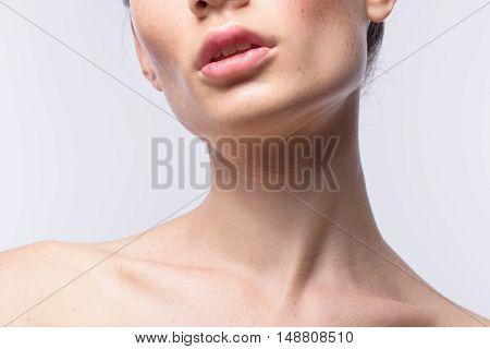 skin care concept, close up neck of a female model with copy space