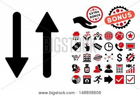 Arrows Exchange Vertical icon with bonus icon set. Vector illustration style is flat iconic bicolor symbols, intensive red and black colors, white background.
