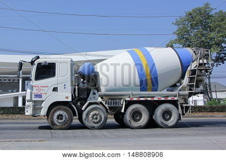CHIANG MAI, THAILAND - JANUARY 5 2015:  Cement truck of PWS Concrete. Photo at road no 1001 about 8 km from downtown Chiangmai, thailand.