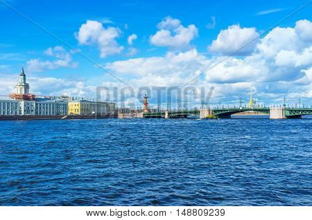 The Palace Bridge over Bolshaya Neva river connects the mainland with Vasilyevsky Island St Petersburg Russia.
