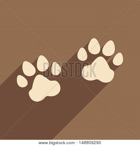 Flat with shadow icon and mobile application traces animals
