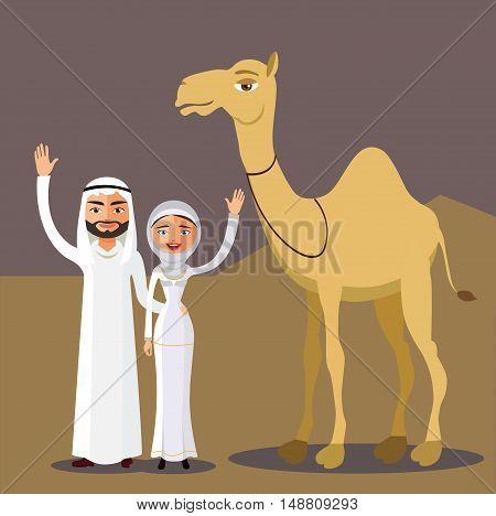 Vector arab family, muslim people and camel, saudi cartoon man and woman waving her hand in desert dunes.