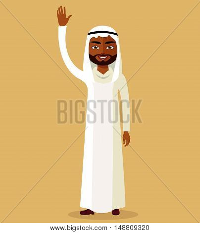 Flat illustration of a arabic man. Kuwait man vector. Arabic man. Saudi Arabia man. Vector illustration