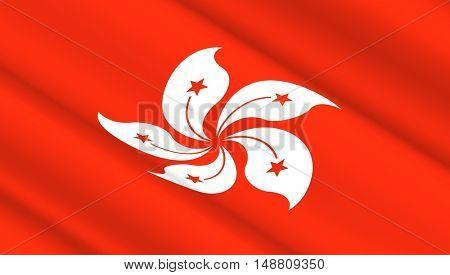 Waving flag of Hong Kong. 3D illustration.