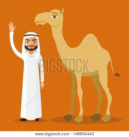Arab bedouin waving his hand and camel.