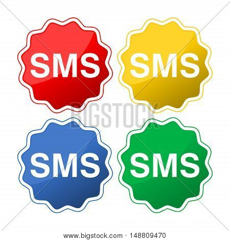 Mobile sms text message icons set on white background