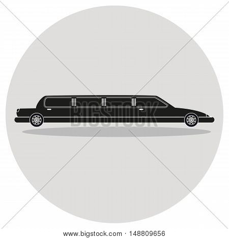 Limousine icon as a coach flat design. Vector illustration.