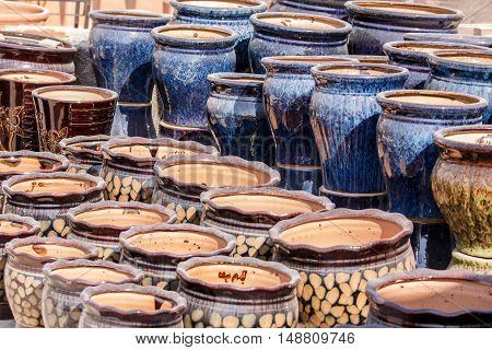 Traditional pottery with designs and decoration in Bahrain - selective focus