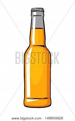 Beer bottle. Vector vintage flat illustration isolated on white background