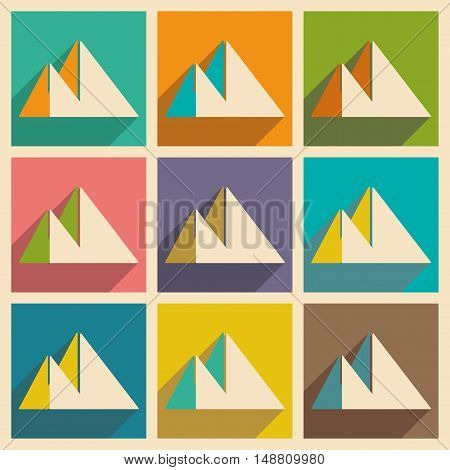 Flat with shadow concept and mobile application pyramids Egypt