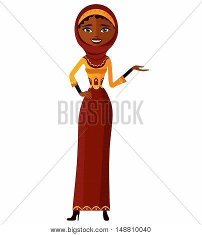 Arab businesswoman. Attractive young lady presenting something. Vector.