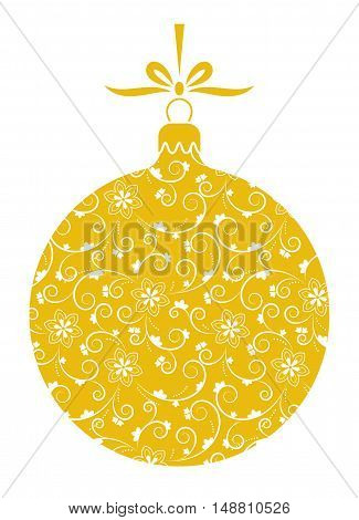 vector christmas ball with ornamental decor isolated on white background