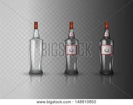 Glass vodka bottle with screw cap. Vector illustration.