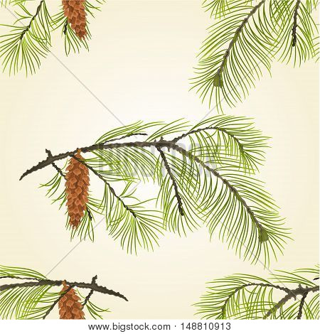 Seamless texture White Pine branch with pine cone Vector illustration