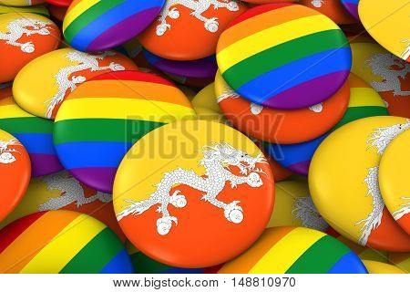 Bhutan Gay Rights Concept - Bhutanese Flag And Gay Pride Badges 3D Illustration