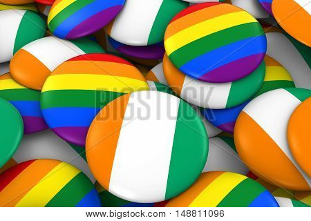 Cote D'ivoire Gay Rights Concept - Ivorian Flag And Gay Pride Badges 3D Illustration