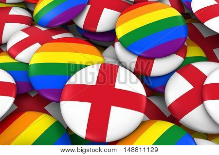 England Gay Rights Concept - English Flag And Gay Pride Badges 3D Illustration