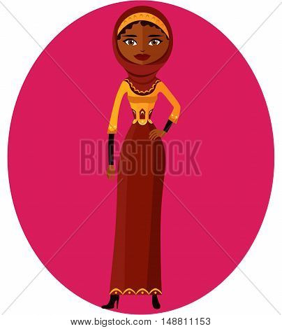 Muslim woman. Cute cartoon Arab girl in traditional dress flat cartoon vector illustration. Eps10. Isolated on a white background.