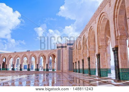 Arcade gallery in Hassan II Mosque in Casablanca, Morocco, North Africa